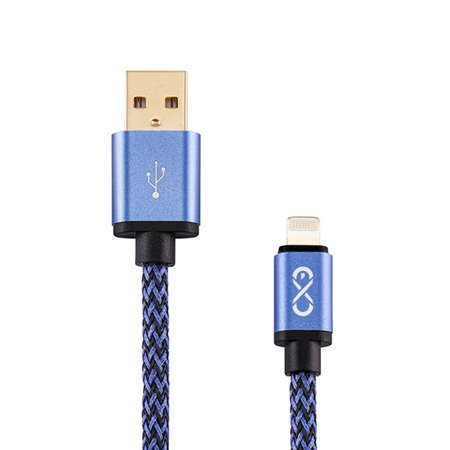 Kabel USB - Lightning eXc POWERFUL 2m czarno-niebieski